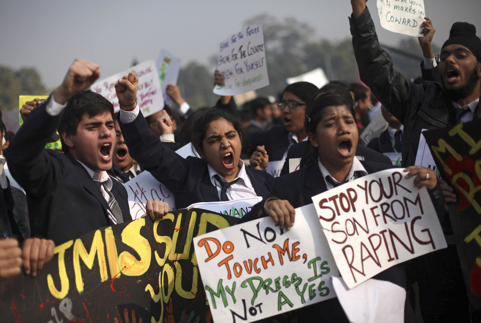 Indian Schoolchildren protest Delhi Gang Rape